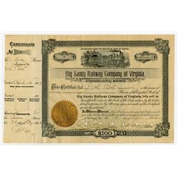 Big Sandy Railway Co. of Virginia, 1902 I/C Stock Certificate with Low Serial #2.