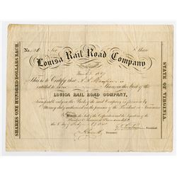 Louisa Rail Road Co. 1850 I/U Stock Certificate.