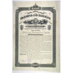 Richmond and Alleghany Railroad Co., 1881 Proof Bond