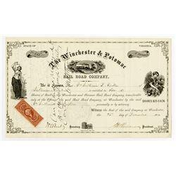 Winchester & Potomac Rail Road (Rail-Road) Co. 1870. I/C Stock Certificate.