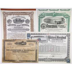 East Coast Quartet of Railroad Certificates, 1885-1917