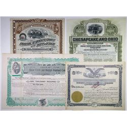 East Coast  I/C Railroad Stock and Bond Certificate Quartet, ca.1893-1916