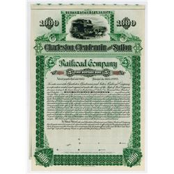 Charleston Clendennin & Sutton Railroad Co. 1894. Specimen Bond.