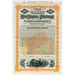West Virginia & Pittsburgh Railroad Co. 1890. Issued Bond.