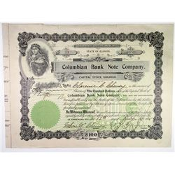 Columbian Bank Note Co., 1905 I/C Stock Certificate.