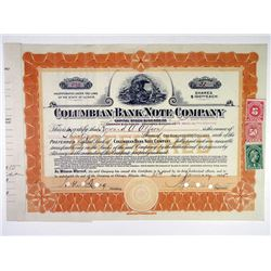 Columbian Bank Note Co., 1915 I/C Stock Certificate.