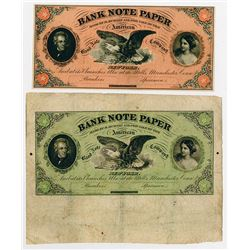 American Bank Note Company - Bank Note Paper 1860's Advertising Banknote Pair.