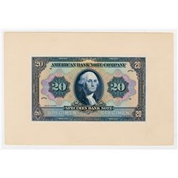 """American Bank Note Company """"20 Denomination"""" 1910-30 Advertising Proof Banknote."""