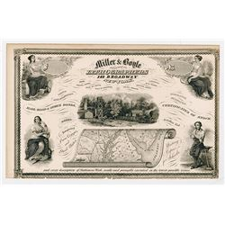 Miller & Boyle, Practical Lithographers, 1850's Advertising Banknote-Certificate.