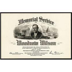 Woodrow Wilson 1924 Memorial Service Card.