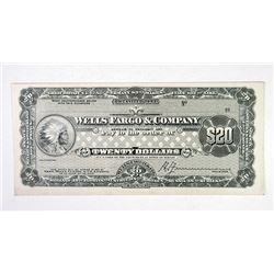 Wells Fargo & Co.. ND(ca.1900-10). Proof Traveler's Check.