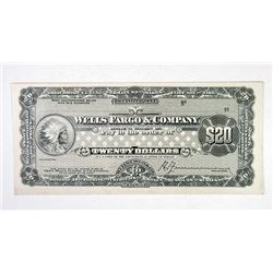 Wells Fargo & Co.. ND(ca.1900-10). Proof Traveler's Check.