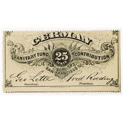 German Sanitary Fund. 1860-65 Obsolete Scrip Note-Lottery Ticket.