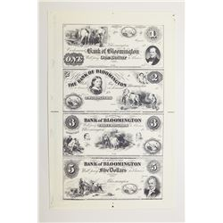 Bank of Bloomington 1850's (1960-70's Reprint) Uncut Sheet of 4 Proprietary Proofs.