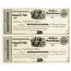 County of Ogle, 1865 $100 Volunteer Bounty Certificate Uncut Remainder Pair.
