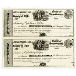 County of Ogle, 1865 $100 Volunteer Bounty Certificate Uncut Remainder Pair.