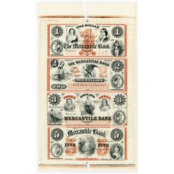 Waterloo, Mercantile Bank, 1850-60's (Reprinted in 1996) $1-2-3-5 ABN Unfinished Reprint Proof Sheet