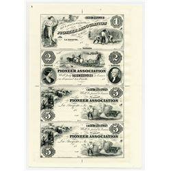 Pioneer Association 1850's (ca.1970's), Uncut Sheet of 4 Proprietary Progress Proofs.