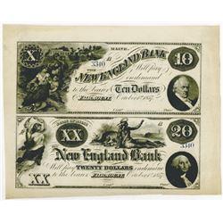 New England Bank, 1857 Remainder Uncut Sheet.