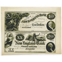 New England Bank, 1857 Remainder Uncut Sheet.