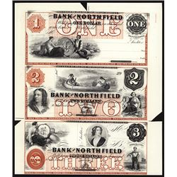 Bank of Northfield Uncut Sheet of 3 Proprietary Proofs Error - Mis-registration of Colors.