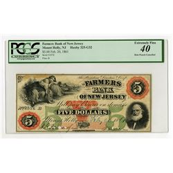 "Mount Holly, NJ. Farmers Bank of New Jersey, 1861 Issued ""SENC"" Obsolete Banknote."