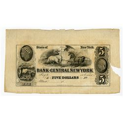 Bank of Central New York, 1850's Remainder Banknote.