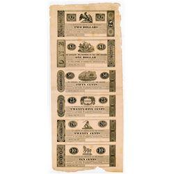 Marietta, Pennsylvania 1837 Uncut Obsolete Scrip Note sheet of 6 Notes.