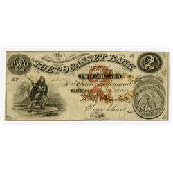 Pocasset Bank, 1859 Issued Obsolete Banknote.