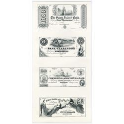 American Bank Note Company U.S. Obsolete Reprint Specimen-Proof Sheet with 4 Different 1840-60's Not