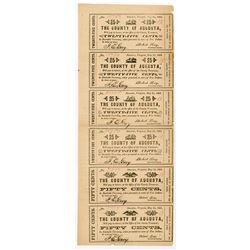 County of Augusta 1862 Uncut Scrip Note sheet of 6 Notes.