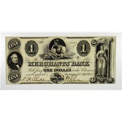 Merchants' Bank. 1852. Issued Obsolete Note.