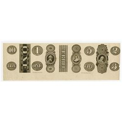 Fairman Draper Underwood, & Co., 1830's Proof Counterfoil and Numeral Counters from Obsolete Banknot