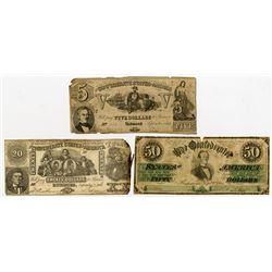 Confederate States of America 1861 Banknote Trio.
