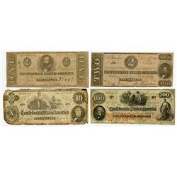 Confederate States of America 1862 Banknote Quartet.
