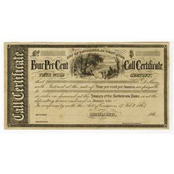 Treasury of the Confederate States Unissued Call Certificate, 1860s