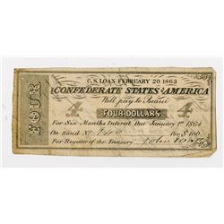 Confederate States of America, 1863-64 Bond Coupon Seized from Jefferson Davis' Home 6 Weeks After L