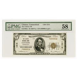 Clinton, CT., Clinton National Bank, $5 1929 Ty 1, Ch.# 1314, Serial Number 1.