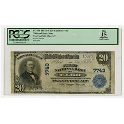 Elko, NV., First National Bank of Elko, $20 1902 PB, Ch.# 7743