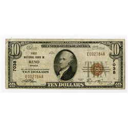 Reno, NV., First National Bank in Reno, $10 1929 Ty 1, Ch.# 7038