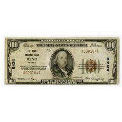Reno, NV., Reno National Bank, $100 1929 Ty 1, Ch.# 8424