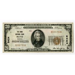 Reno, NV., Reno National Bank, $20 1929 Ty 1, Ch.# 8424
