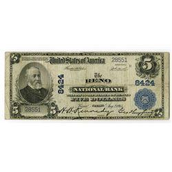 Reno, NV., Reno National Bank, $5 1902 PB Ty 1, Ch.# 8424