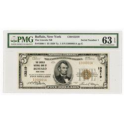 Buffalo, NY., Lincoln NB in Buffalo, $5 1929 Ty 1, Ch.# 13219, Serial Number 1.