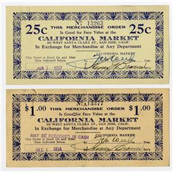 California Market, San Jose, 1934 & 1937 Depression Scrip Pair from Silicon Valley.