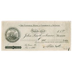 National Bank of Commerce in St. Louis, 1907 Depression or Panic Currency.
