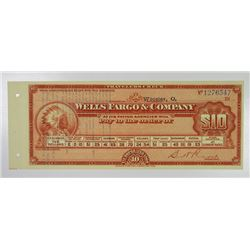 Wells Fargo & Co.. ND(ca.1930's). Issued Unused Traveler's Check.