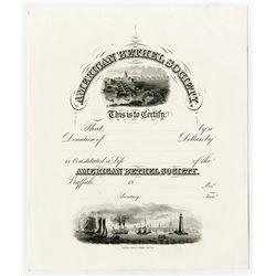 American Bethel Society Proof Donation Certificate. ND(1840-50's). Proof Donation Certificate.