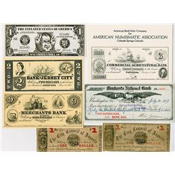 Obsolete Banknotes, Reprints and Curiosities, ca.1860-1970's Lot of 7 Items.