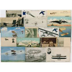 Collection of French and German Military Aviation Postcards ca. 1880-1920